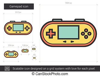 Gamepad line icon. - Gamepad vector line icon isolated on...