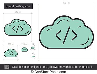 Cloud hosting line icon. - Cloud hosting vector line icon...
