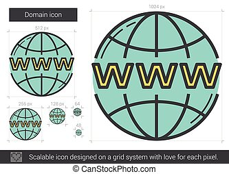 Domain line icon. - Domain vector line icon isolated on...