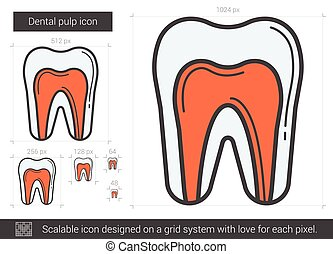 Dental pulp line icon. - Dental pulp vector line icon...