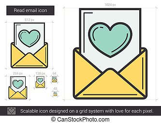Read email line icon.
