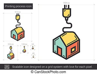 Printing process line icon. - Printing process vector line...