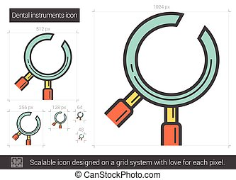 Dental instruments line icon. - Dental instruments vector...