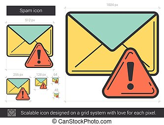 Spam line icon. - Spam vector line icon isolated on white...