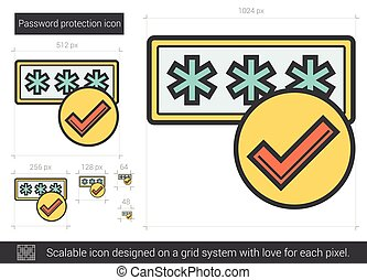 Password protection line icon. - Password protection vector...