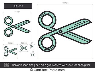 Cut line icon. - Cut vector line icon isolated on white...