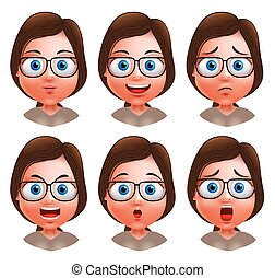 Woman avatar vector character nerd expressions