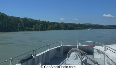 Cruising on Danube by Large Ship - Speed cruising on the...