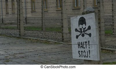 Death Sign on Nazi Extermination Camp - Skull and bones...
