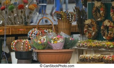 Flowers for Sale - Beautiful bouquets of flowers exposed for...