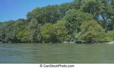 Banks of Danube by Speed Boat - Forest along the Danube...