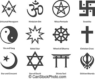 Icon set of world Religious symbols. Vector illustration