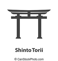 Icon of Shinto symbol. Torii religion sign