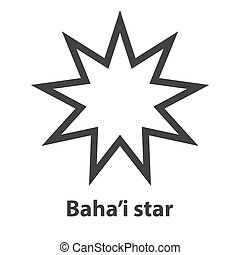 Icon of Bahai Nine pointed star symbol. Bahaism religion...
