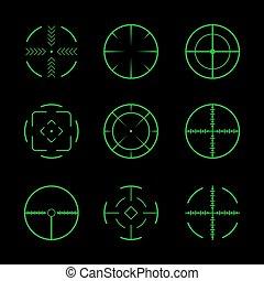 Set of crosshairs target icons.