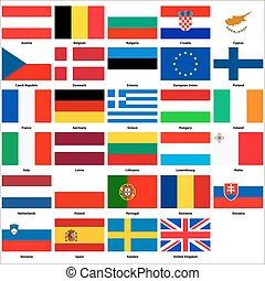 All flags of the countries of the European Union
