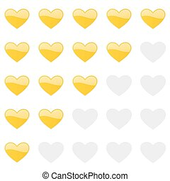 Rating hearts panel. Customer review, vote navigation bar. Vector satisfaction, like level symbol