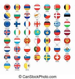 Set of flags of all countries of Europe. Vector illustration