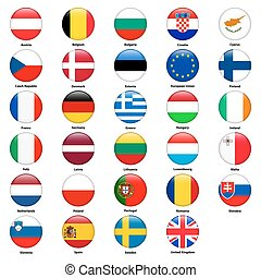 All flags of the countries of the European Union. Round glossy style