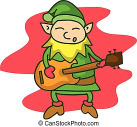 guitarra, lindo, duende, caricatura
