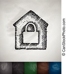 house under protection icon. Hand drawn vector illustration....