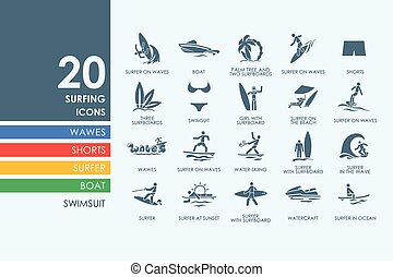 Set of surfing icons - surfing vector set of modern simple...