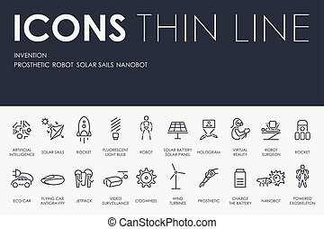 Invention Thin Line Icons - Thin Stroke Line Icons of...
