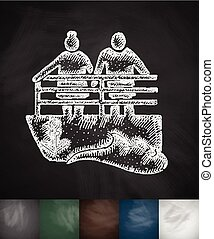 old men on the bench icon. Hand drawn vector illustration....