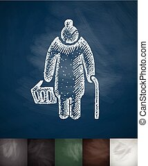 old woman with cane icon. Hand drawn vector illustration....