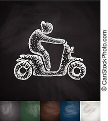woman on moped icon. Hand drawn vector illustration....