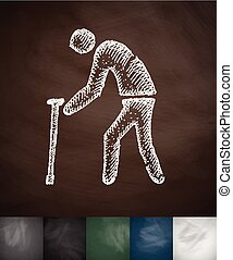 old man with cane icon. Hand drawn vector illustration....