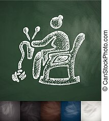 old woman knitting icon. Hand drawn vector illustration....