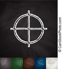 sight icon. Hand drawn vector illustration. Chalkboard...