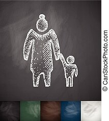 old woman and child icon. Hand drawn vector illustration....
