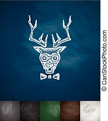 hipster deer icon. Hand drawn vector illustration....