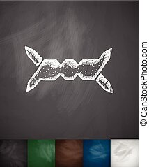 barbed wire icon. Hand drawn vector illustration. Chalkboard...