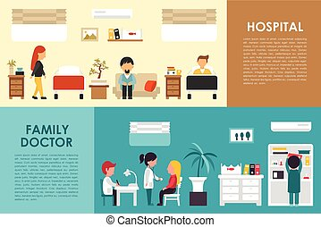 Hospital and Family Doctor flat hospital interior concept...
