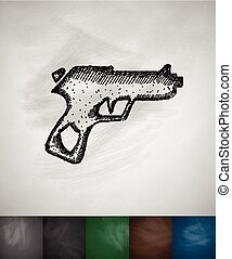 gun icon. Hand drawn vector illustration. Chalkboard Design
