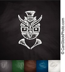 hipster owl icon. Hand drawn vector illustration. Chalkboard...