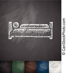 man in bed icon. Hand drawn vector illustration. Chalkboard...