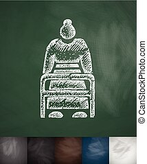 old woman with walker icon. Hand drawn vector illustration....