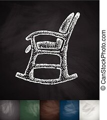 rocking chair icon. Hand drawn vector illustration....