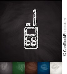 earphone icon. Hand drawn vector illustration. Chalkboard...