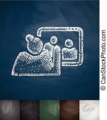 communication with children icon. Hand drawn vector...