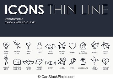 Valentine's Day Thin Line Icons - Thin Stroke Line Icons of...