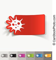 realistic design element. virus - virus paper sticker with...