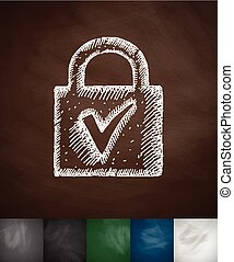 lock icon. Hand drawn vector illustration. Chalkboard Design