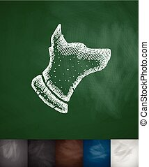 dog icon. Hand drawn vector illustration. Chalkboard Design