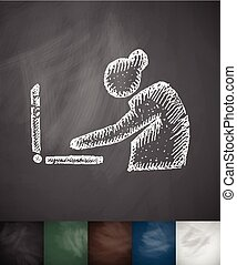 laptop old woman icon. Hand drawn vector illustration....