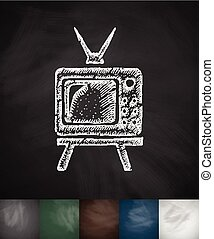 pensioners watch TV icon. Hand drawn vector illustration....